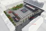 Plac Nowy Targ widok ogólny z Pawilonem Miejskim plus opis